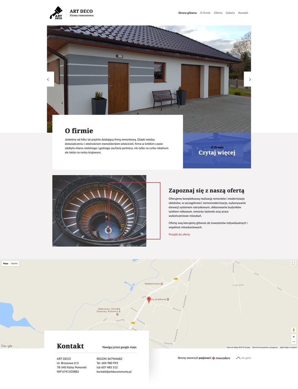 Projekt strony głównej artdecoremonty.pl