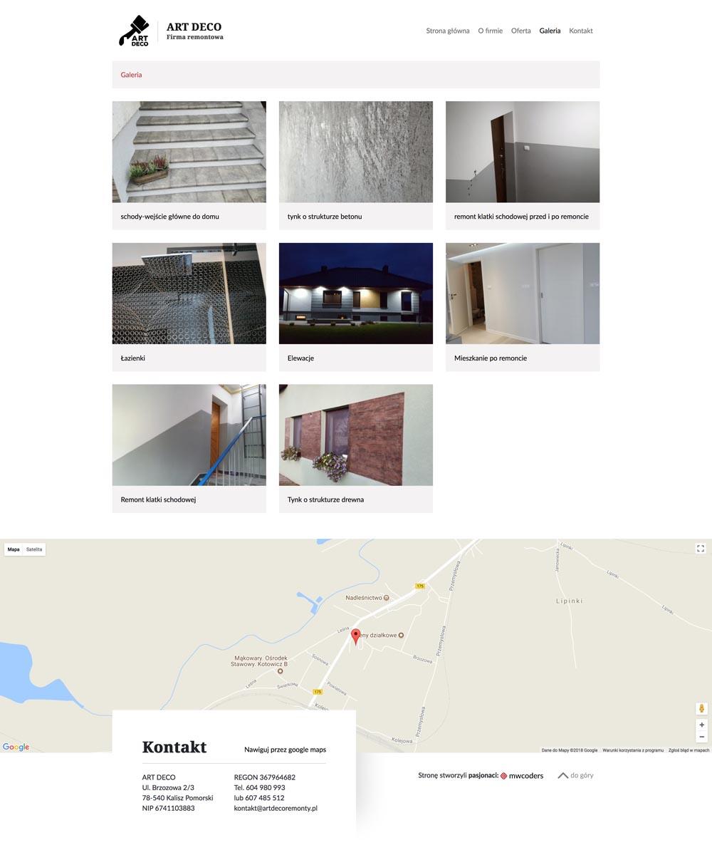 Projekt strony z galerią artdecoremonty.pl