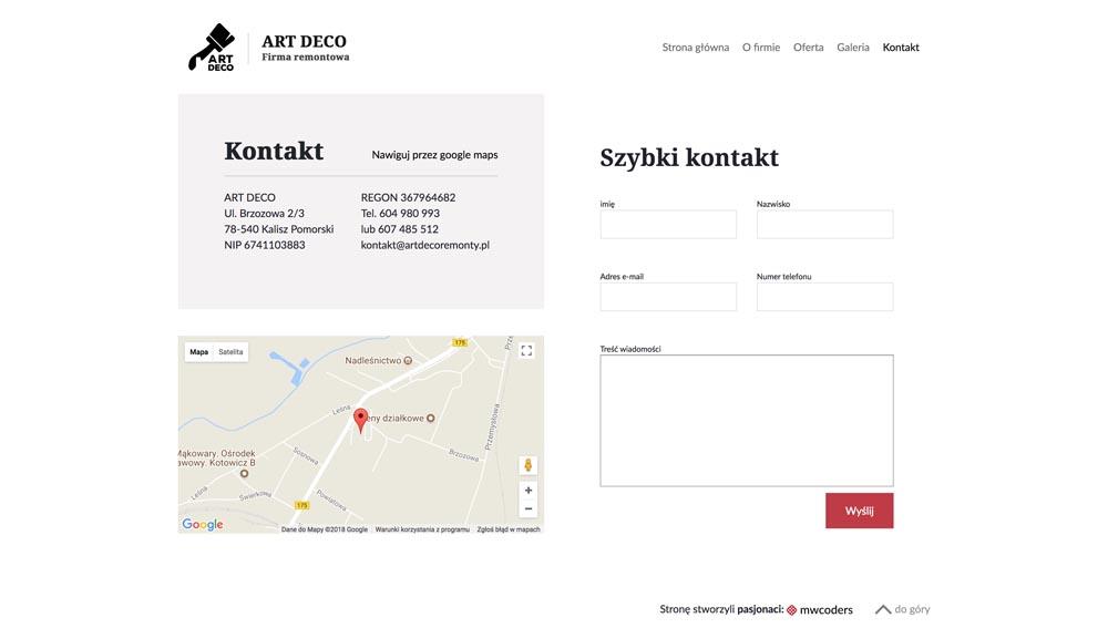 Projekt strony kontakt artdecoremonty.pl