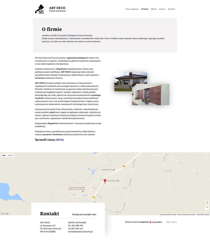 Projekt strony tekstowej artdecoremonty.pl