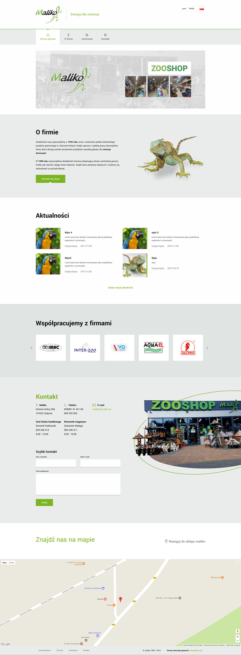 Projekt strony głównej maliko.pl