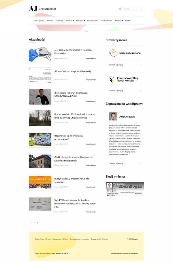 Projekt strony z wpisami arieljuszczak.pl