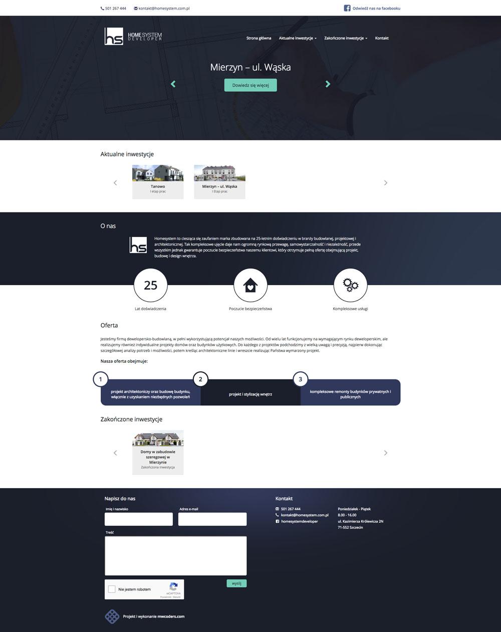 Projekt strony głównej home system