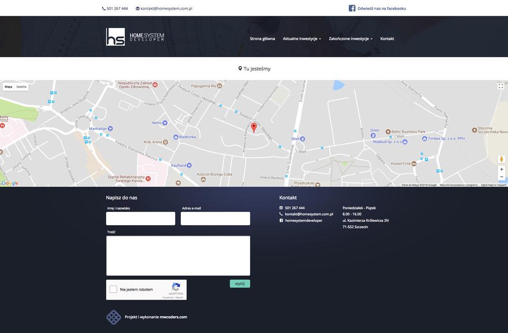 Projekt podstrony kontakt home system
