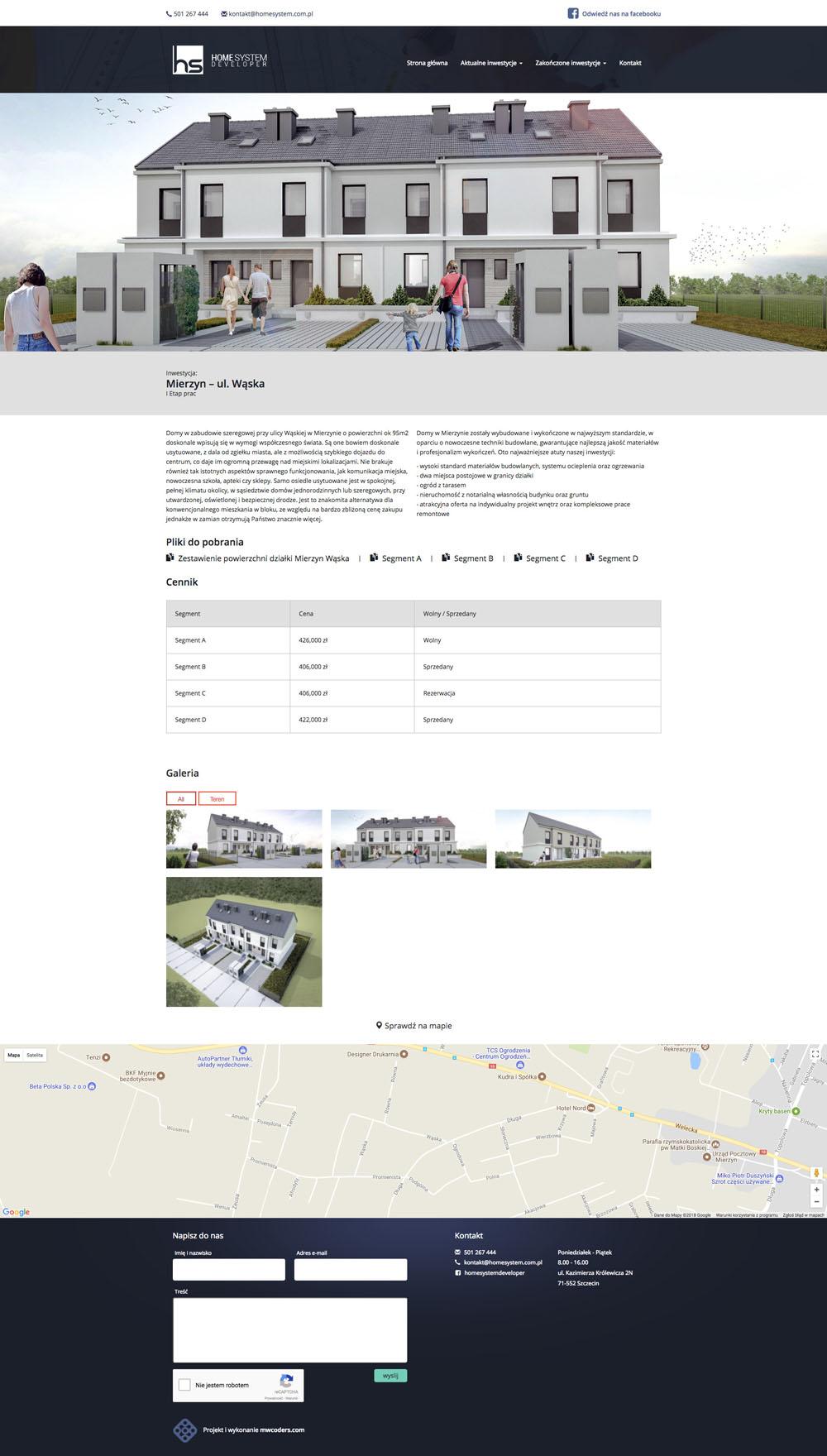 Projekt podstrony realizacji home system