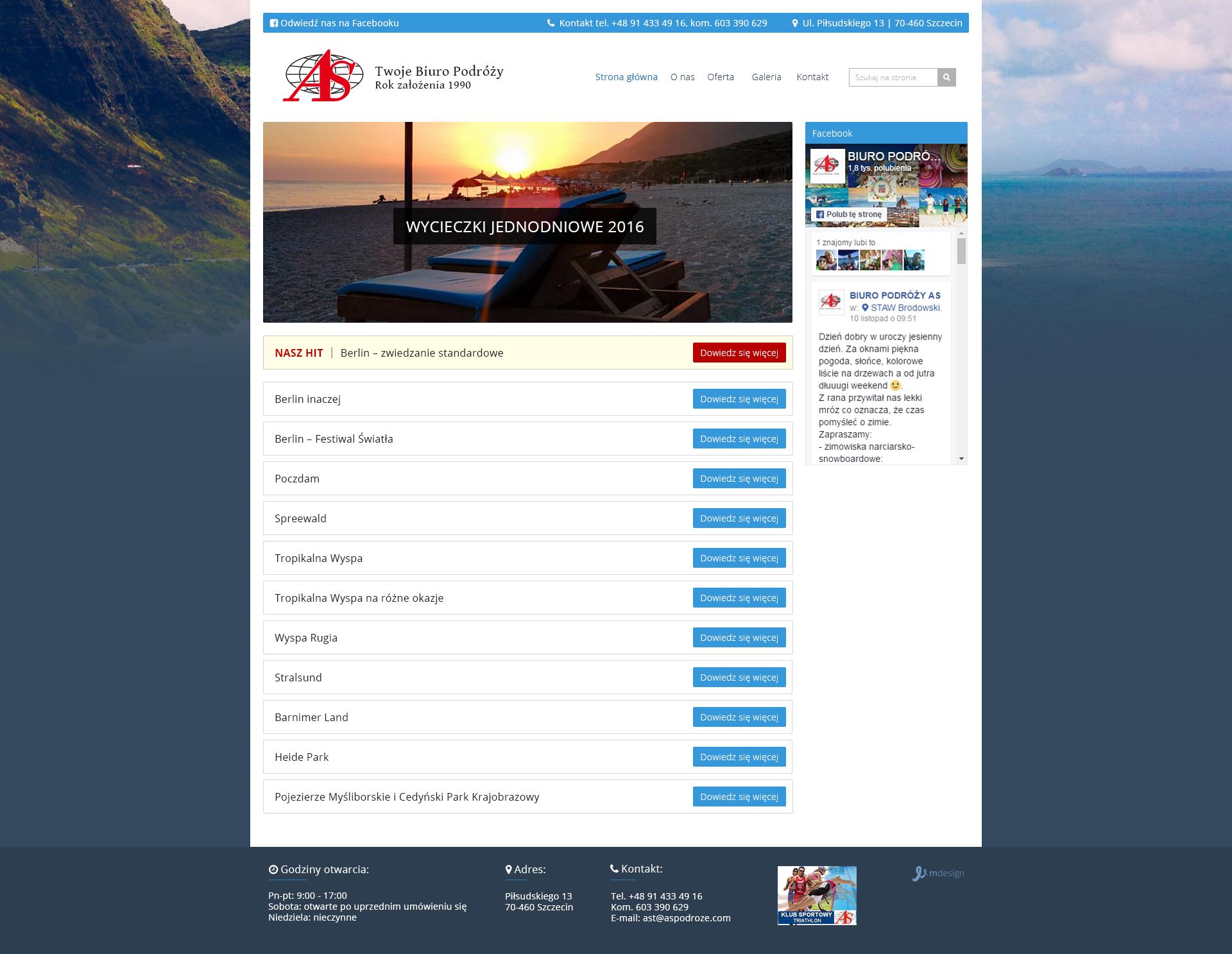 Projekt strony z kategoriami aspodroze.com