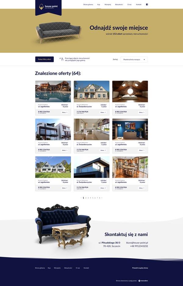 Projekt strony z nieruchomościami na sprzedaż house-point.pl