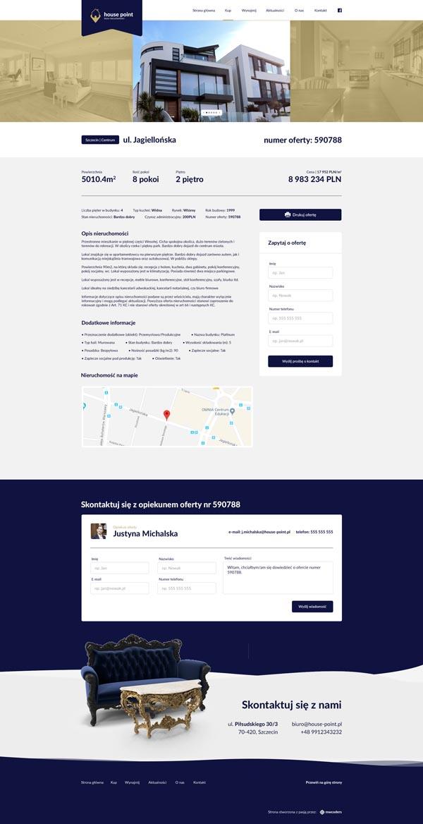 Projekt strony wybranej nieruchomości house-point.pl