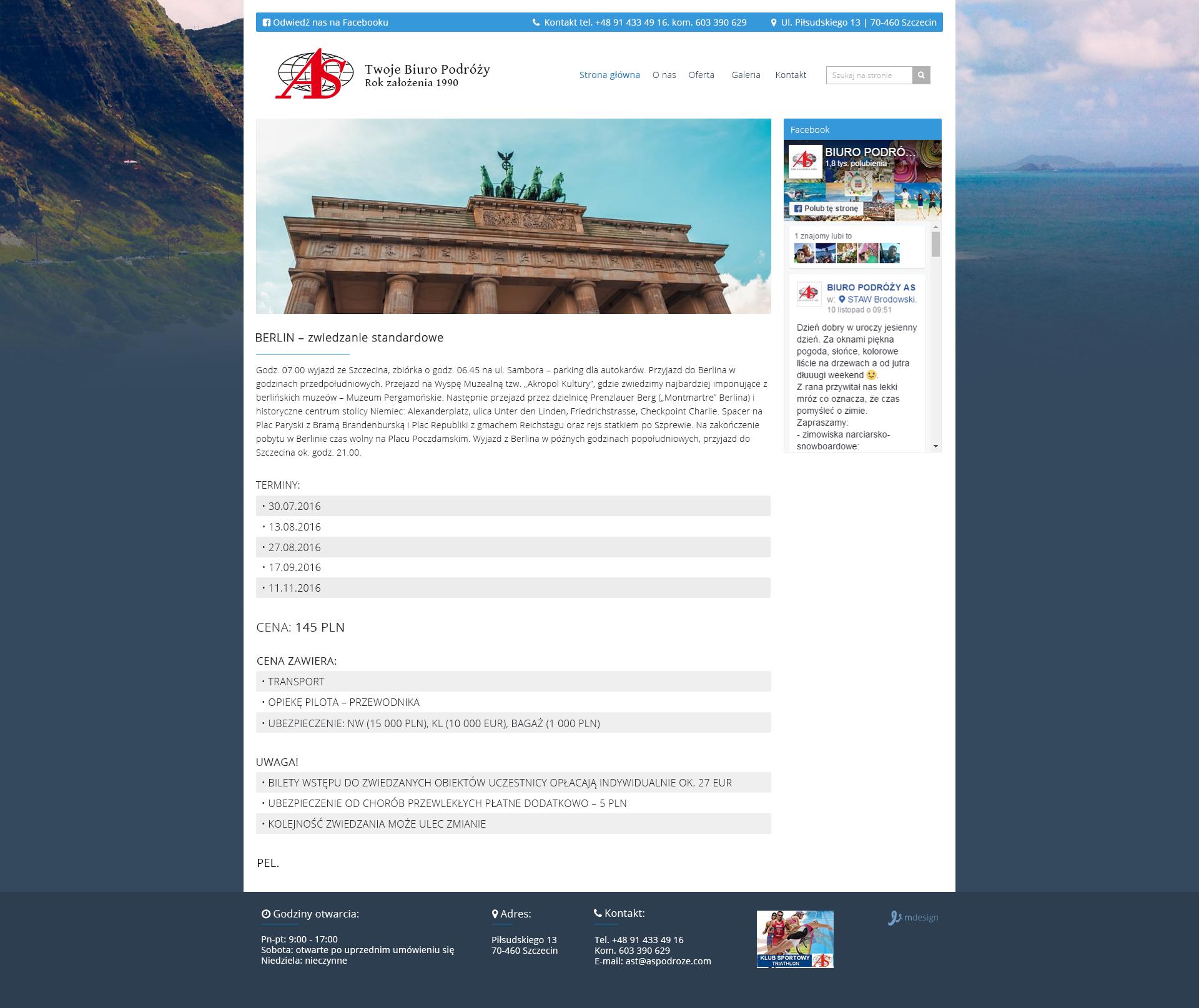 Projekt strony z wycieczką aspodroze.com