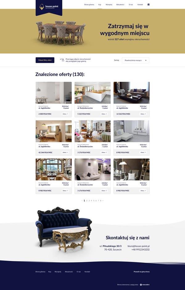 Projekt strony z nieruchomościami na wynajem house-point.pl