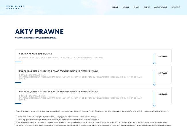Kominiarz gryfice - projekt strony
